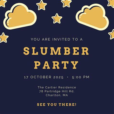 funny unicorn sleepover party invitation templates  canva