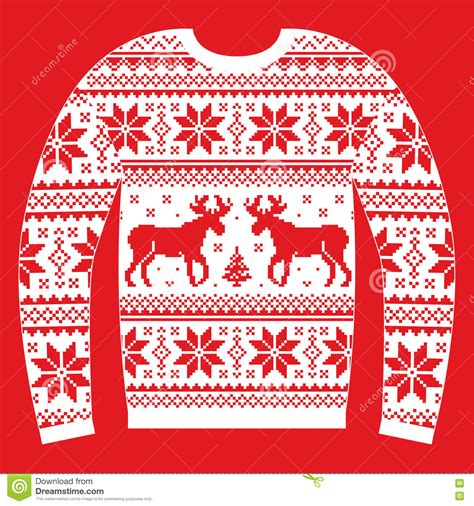 Seamless christmas traditional pattern with deers and snowflakes. Ugly Christmas Jumper Or Sweater With Reindeer And ...