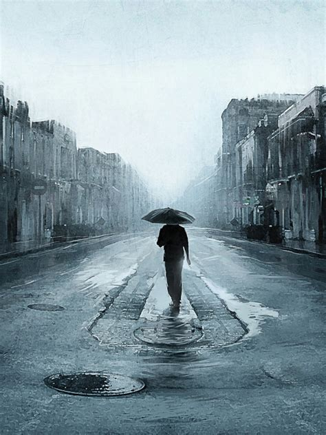 Man In The Rain Grey Street Android Wallpaper Free Download