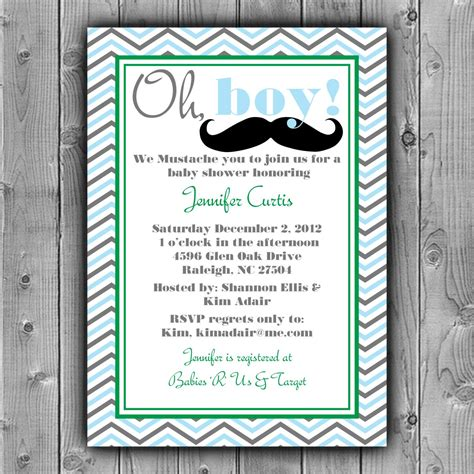 mustache baby shower invitation printable custom diy
