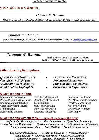 Free Sample Resume Headings