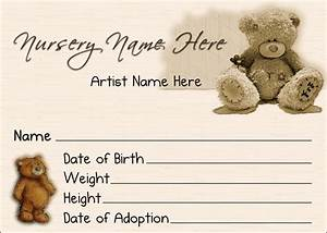 6 best images of teddy bear birth certificate teddy bear With reborn birth certificate template