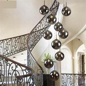M staircase smoke black spiral pendant lamps modern