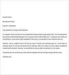 Sample Rejection Letter After Interview