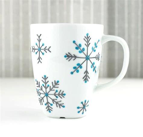 hand painted porcelain mug snowflake design tea