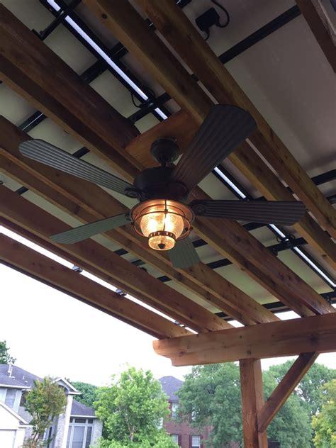 outdoor ceiling fan box outdoor ceiling fan installed under solar pergola
