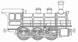 Detailed Vector Illustration Of A Steam Locomotive