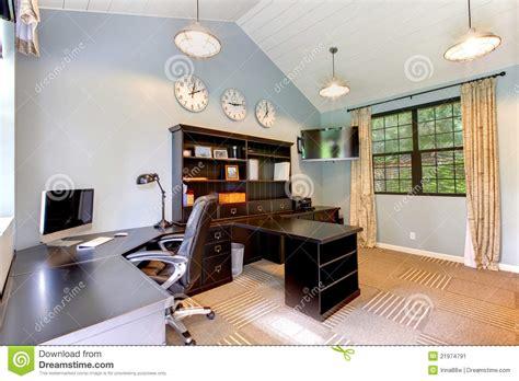 blue modern home office  dark brown furniture stock