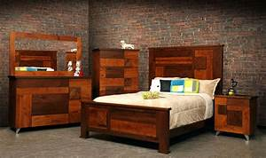 Hand Crafted Arial Fields Modern Walnut & Cherry Bedroom