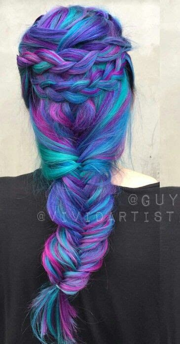 Purple Blue Mixed Braided Dyed Hair Color Inspiration Guy