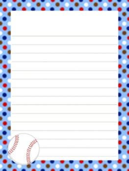 baseball writing paper  styles      pink