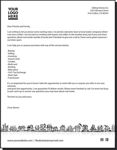 real estate introduction letter to friends template new letter real estate real estate estate agents and business