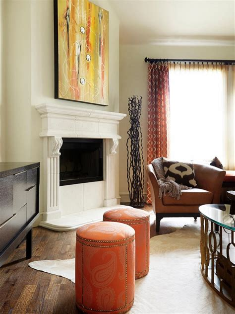 In the living room of a atlanta, georgia, house, orange paint sets off the palladian details of the bookcase. 20 Living Room Color Palettes You've Never Tried | Burnt ...