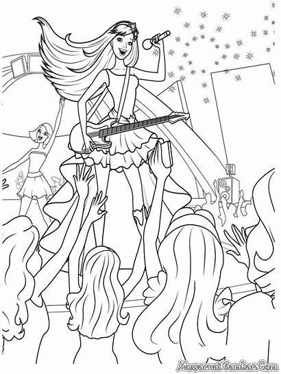 Barbie Dancing Gambar Mewarnai Princesses Coloring Princess
