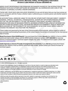 Arris Sbg6900 Wireless Cable Modem  U0026 Router User Manual Rev