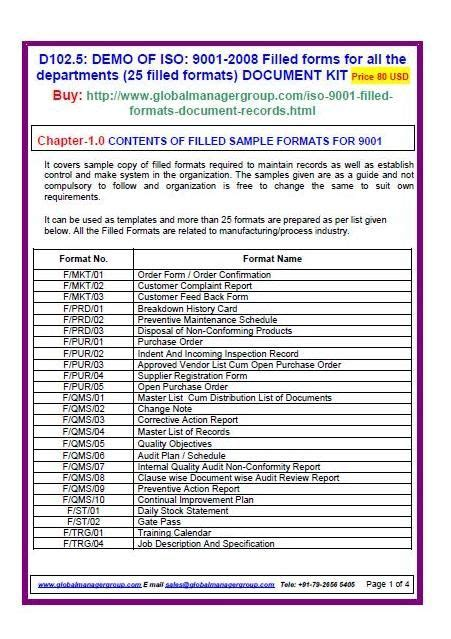 Iso 9001 Forms Templates Free by Iso 9001 2008 Filled Forms Iso Templates For All The