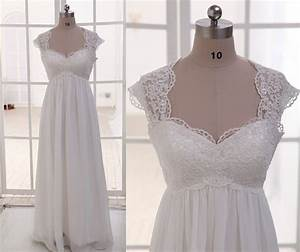 lace chiffon wedding dress cap sleeves empire waist by With empire waist wedding dress with sleeves