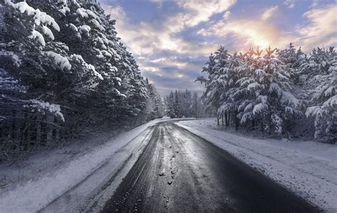 winter, Road, Snow, Trees Wallpapers HD / Desktop and ...