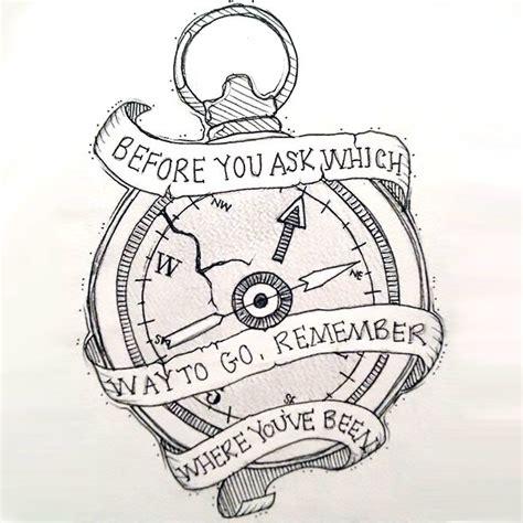 motivational compass tattoo design