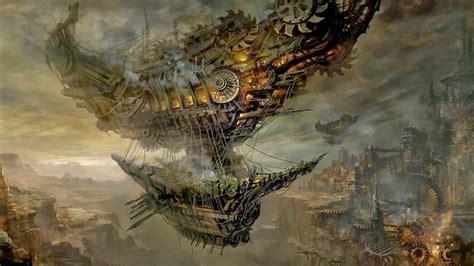 video game screenshot steampunk airships fantasy city