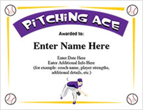 baseball certificates free award templates