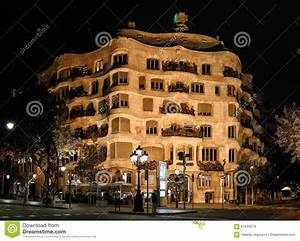 Night View Of Casa Mila, Barcelona Editorial Stock Image ...