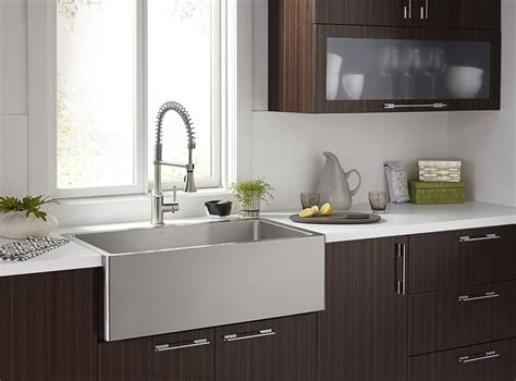 stainless farmhouse kitchen sinks chic stainless steel apron sink in kitchen contemporary 5708