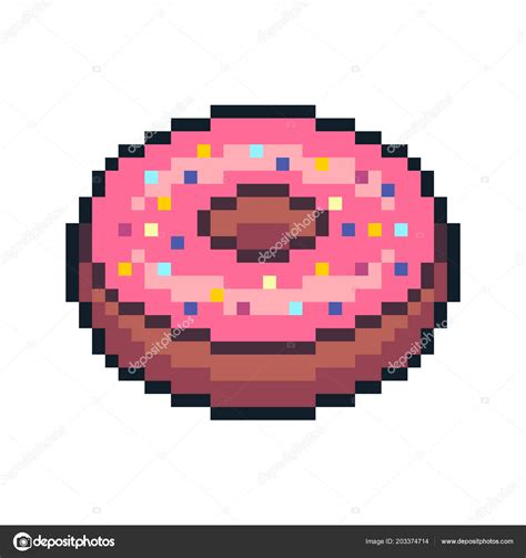 One with a square tip and one with a round tip. Pixel art donut | Pixel Art Donut Isolated White ...