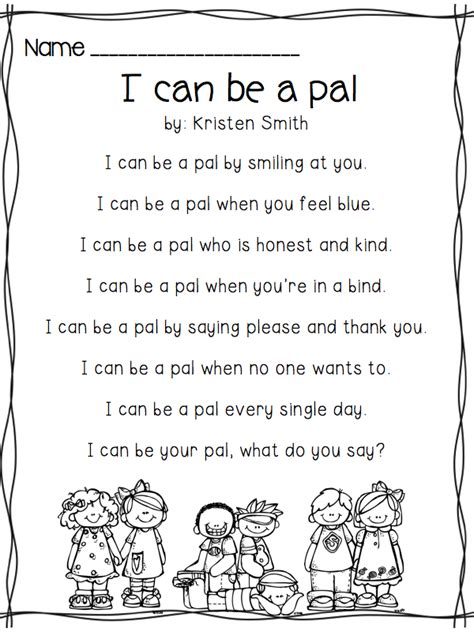 i can be a pal building your classroom community poem 722 | f662af072474384c5cce5d4dcdc1f998
