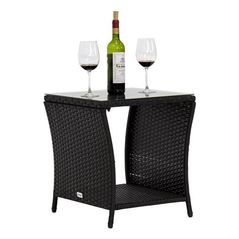 A chic look with comfortable cushions, a great set for your conservatory or can be left outside as it is waterproof. kinbor Black Outdoor Square Wicker Rattan Side Coffee Table w/Glass Top Patio Furniture with ...