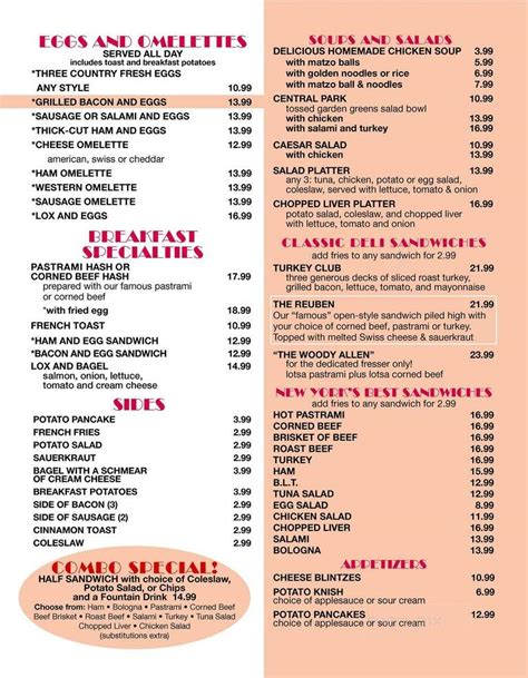 Offering breakfast, lunch, pastries, with private room or entire space rentals for any event, all with a smile! Menu of Carnegie Deli in Las Vegas, NV 89109