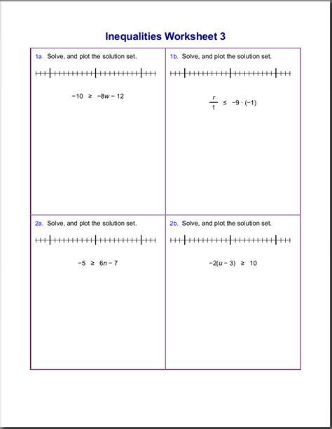 worksheets  inequalities