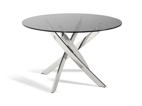 smoked glass dining table modrest spark modern smoked glass circular dining table