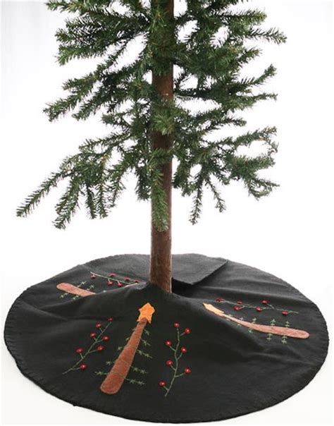 24 quot primitive tree skirt with stitched holiday design