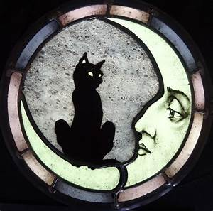 Custom Cat And Moon Stained Glass by Haeuser Heil Studios