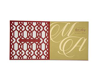wedding invitation  symmetrical laser cut design  red
