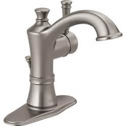 high flow kitchen faucet shop delta valdosta spotshield brushed nickel 1 handle 4 in centerset watersense bathroom faucet