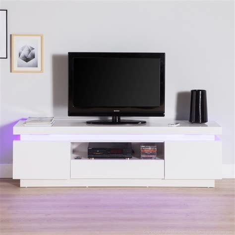 Meuble Tv Blanc Laqué 130 Cm