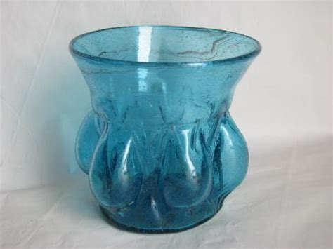 Mexican Glass Vases by Blown Swirled Aqua Blue Glass Vase Or Flower Pot W