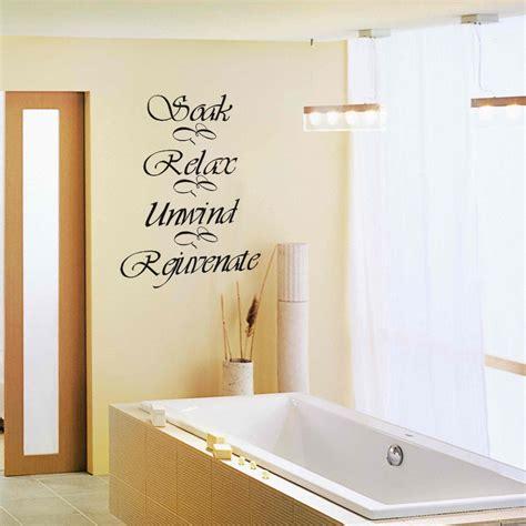 bathroom wall decal quote soak relax unwind rejuvenate