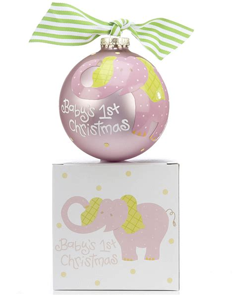 baby s 1st christmas pink elephant christmas ornament baby