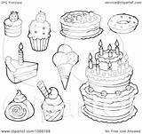 Cream Ice Desserts Cakes Clipart Outlined Illustration Visekart Vector Royalty sketch template