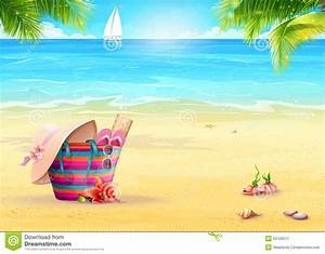 Summer Illustration With A Beach Bag In The Sand Against ...