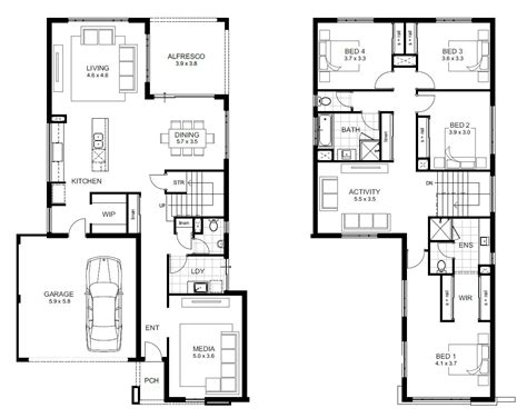 2 floor plans modern open floor house plans two 4 bedroom 2