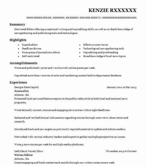 Journalist Resume by Journalist Resume Sle Resumes Misc Livecareer