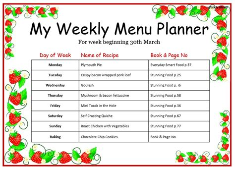 Weekly Menu Template Weekly Menu Template For Home Word Templates