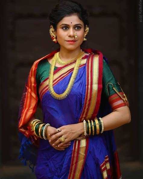 image    person standing nauvari saree