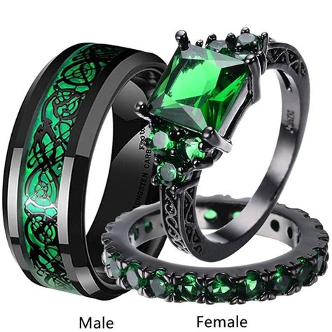 Cheap (3pcs rings)Couple Rings Set Black Gold Plated