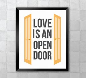 Frozen Love is an Open Door Lyric Quote 8x10 Art by LyricWall