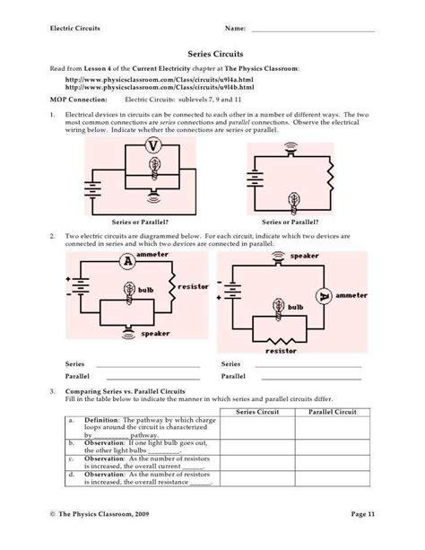 Series And Parallel Circuits Worksheet Homeschooldressagecom
